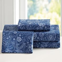 inspired by our love of bandanas... the Junk Gypsy Paisley Cowgirl Sheet Set, Indigo