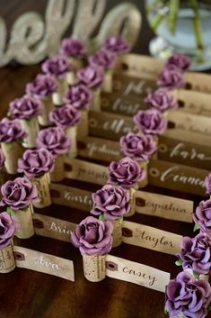 The perfect touch for your fall vineyard wedding! Greet your guests with these beautiful flower Place Card Holders, available in 28 custom colors to match your wedding color palette. Details & free shipping for orders $25+ at www.karasvineyardwedding.com #placecards #fallwedding #vineyardwedding