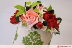 Spring Green Damask Wedding Cake » Spring Wedding Cakes