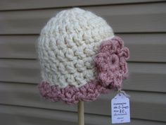 Antique - cream and pink...Baby hat $10 at The N Boutique on Etsy