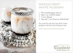 Jenna Sais Quois: Cocktail Couture: Middle West Spirits White Russian