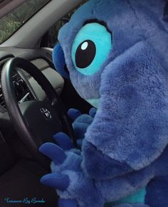 Stitch is up to his usual antics. This huge plush Stitch from Lilo & Stitch made off with my car this morning. He's 40 inches tall and the Disney Store calls him a Jumbo Stitch. A rare Disney gift idea! Disney Gift, Disney Love, Disney Disney, Disney Plush, Disney Babies, Disney Cars, Disney Stuff, Lilo And Stitch Movie, Lilo Stitch