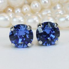 Royal Blue Stud Earrings,Sapphire Blue Swarovski Crystal Silver Post 8mm studs,Royal Blue wedding Bridesmaids,Silver finish,Sapphire,SE1