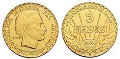 dinero de Uruguay | Moneda de oro de cinco pesos, 1930,