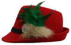 <strong>Goldstich - Exklusivserie - Designerhut</strong><br />Sehr schöner roter Trachtenhut mit Borte, echter Feder und silberner Brosche. Ein absolutes Unikatstück - extravagant und edel.<br /><br /> [Unser Preis: 79,00€]