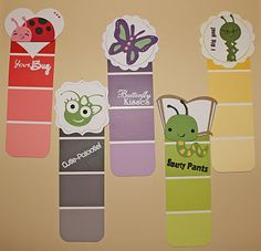 Paint chip bookmarks - Pippinies could make these - or something like? Could make relavant for any term's theme by using appropriate pictures??