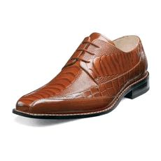 Stacy Adams Palatino Mens Cognac Ostrich Leg Print Leather Shoes