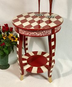 Whimsical painted table, harlequin painted end table, painted round end table by MicheleSpragueDesign on Etsy