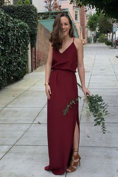 Bridesmaid Gowns simple burgundy bridesmaid dresses, v neck long bridesmaid dresses, long prom dress with slit - A-Line V-Neck Floor-Length Burgundy Bridesmaid Dress Burgundy Bridesmaid Dresses Long, Wedding Bridesmaid Dresses, Wedding Bouquets, Burgundy Dress, Bridesmaid Bouquet, Wedding Gowns, Bridesmaid Outfit, Fall Dresses, Prom Dresses
