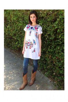 Donaji Tunic - White with Multi Color Embroidery