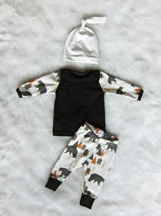 Baby Boy Coming Home Outfit Bear in the Woods by brambleandbough