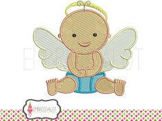 Angel baby machine embroidery design. Cute baby embroidery with wings and halo, filled stitch. Fun baby angel embroidery.