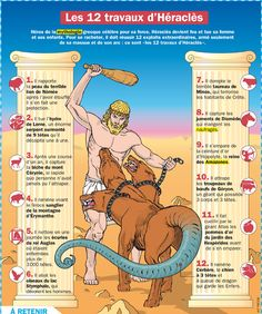 CULTURE - Poster/fiche sur les 12 travaux d'Hercule - PDF à imprimer Religion, Greek Gods And Goddesses, French Classroom, French Resources, French Language Learning, Spanish Language, Cycle 3, Teaching French, Learn French