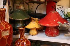 green yellow red decorative ceramic mushrooms  Evergreen Lake of the Ozarks  home decor store