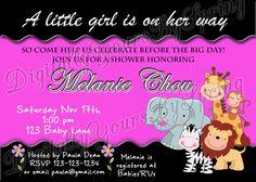 Items similar to Printable Baby Shower Invitation - zoo/safari/jungle theme - You Print DIGITAL FILE on Etsy Baby Shower Printables, Baby Shower Themes, Baby Shower Invitations, Shower Ideas, Different Fonts, Digital Invitations, Big Day, Rsvp, Invite