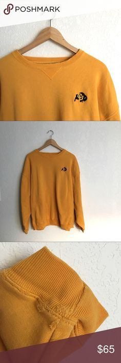 Vintage CU Buffs Sweatshirt Go Buffs! Soft and so comfy vintage crewneck sweatshirt. Distress from age on neck collar and near cuffs. Adds great character. Tag size XL. Suggested size ladies XS-M depending on how oversized ya want it. Vintage Tops Sweatshirts & Hoodies