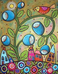 You are dealing with Karla Gerard, Maine Folk Art/Abstract Artist, Originator/Creator of concentric circles/flowers in trees paintings and in landscapes. Over of my original paintings are in worldwide collections. Karla Gerard, Art Fantaisiste, Art Populaire, Art Diy, Naive Art, Whimsical Art, Tree Art, Bird Art, Doodle Art