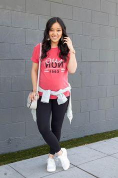 ea2171a934e22 Pink Graphic Tee + Statement Earrings + Black Leggings + White Sneakers +  White Bag Casual