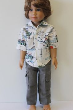 Hawaiian Shirt Doll Clothes to fit Kidz 'n' Cats by Debsterkay
