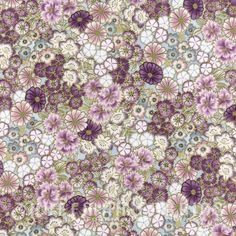 Fabric :: Quilting Cottons :: Florals :: Kotori Screenprint Blossoms - Orchid / Gold