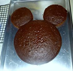 Mickey Mouse Cake with Individual First Birthday Cakes for Ears. #DisneySide