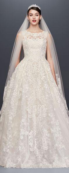 Beaded Lace Wedding Dress with Pleated Skirt #weddings #weddingideas #bridal