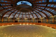 Designed by Prague-based studio SGL Projekt, in The Stork Farm Nest is a giant stick-covered dome used as a horse-riding arena in the Czech Republic. The design was inspired by storks that found home in the roof of the distillery after it was disused. Equestrian Stables, Horse Stables, Horse Farms, Dream Stables, Dream Barn, Horse Arena, Indoor Arena, Round Pen, Horse Ranch
