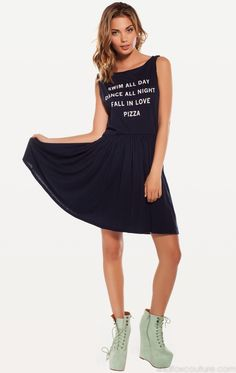 PIZZA PARTY 90'S BABY DOLL DRESS at Wildfox Couture in HEY SAILOR!, - CLEAN BLACK