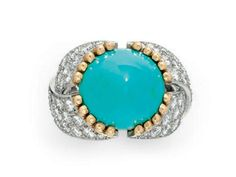 A TURQUOISE, DIAMOND AND GOLD RING, BY JEAN SCHLUMBERGER   Of bombé design, set with a cabochon turquoise, with 18k gold wirework detail, to the circular-cut diamond overlapping hoop, mounted in platinum and 18k gold, ring size 5½, with French assay marks and maker's mark  Signed Schlumberger for Jean Schlumberger