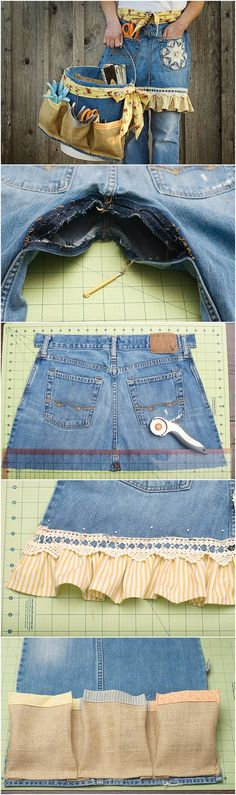 DIY Repurpose Old Jeans into Garden Apron and Tool Caddy #craft #sewing #repurpose