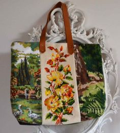 vintage tapestry upcycling, vintage needlepoint upcycling, tapestry bags, needlepoint bags,