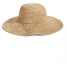 Women's Nordstrom Open Weave Raffia Floppy Brim Hat ($48) ❤ liked on Polyvore featuring accessories, hats, natural combo, floppy sun hat, beach hats, sun hat, floppy hat and brimmed hat