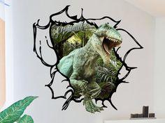Dinosaur Wall Decal - Tyrannosaurus Rex Tearing through the wall 3D Wall Decal T-Rex on Etsy, $35.99