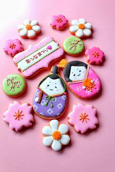 Japanese cookies are Food Art Gourmet Cookies, Iced Cookies, Cute Cookies, Cupcake Cookies, Sugar Cookies, Japanese Cookies, Japanese Sweets, Japanese Food, Sugar Cookie Frosting