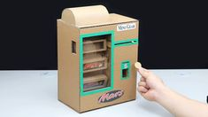 How to Make Mars Chocolate Bar Vending Machine with Coin - How to make big marble run machine from cardboard. You can make this project at home with your frien - Cardboard Box Crafts, Cardboard Toys, Paper Crafts Origami, Oragami, Vending Machine Diy, Mars Chocolate Bar, Diy For Kids, Crafts For Kids, Home Made Candy