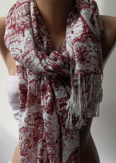 Red  Shawl / Scarf  / soft cotton by womann on Etsy,