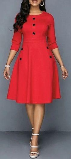 Button Embellished Pocket Red A Line Dress, Button Embellished Pocket Red A Line Dress Cheap women trendy dresses Dresses online for sale Cheap women trendy dresses Dresses online for sale. Trendy Dresses, Dresses For Sale, Dresses Online, Summer Dresses, Dresses Dresses, Flower Dresses, A Line Dresses, Woman Dresses, Dress Sale
