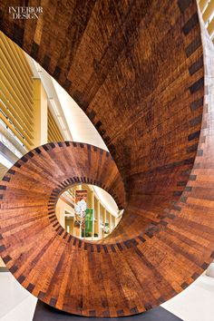 The inaugural edition of the Collaboration of Design + Art Awards showcases what results when communities join forces—including James Perry's mahogany spiral sculpture at a hospital by Rosalyn Cama; Interior Design Magazine, Interior Design Studio, Unique Architecture, Interior Architecture, We Go Together, Best Architects, Healthcare Design, Arts Award, Art Programs
