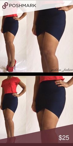 Dark Blue Bandage Skirt Dark Blue Bandage Skirt Brand New With Tags Listed as a medium because it runs small This skirt can be worn with uggs, riding boots, knee boots, or just a cute pump Skirts Asymmetrical