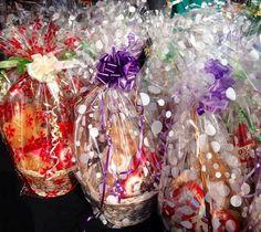 A range of cellophane designs.  Gift baskets on order