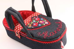 doll carrier, bassinet, doll bed - waldorf toy - personalized - only for dolls - blue red- denim - hand embroidered - heart by BagitKid on Etsy Toy Baby Carrier, Doll Carrier, Waldorf Toys, Plush Animals, Embroidered Flowers, Baby Toys, Diaper Bag, Purses, Dolls