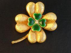 Signed MYLU Enamel Four Leaf Clover Brooch