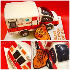 Red and white 3D ambulance cake
