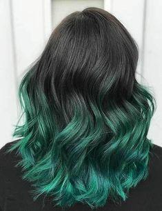 Green Hair Ombre, Black And Green Hair, Ombre Hair Color, Hair Color For Black Hair, Lilac Hair, Pastel Hair, Gray Hair, Hair Colour, White Hair