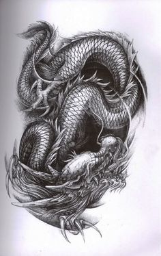 "Dragon Tattoo. Have it ""fade"" in and out of skin patches, like a negative space tree, cave, etc:"