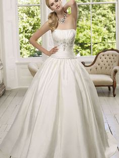 Ball Gown Strapless Satin Sweep Train Appliques Wedding Dresses at Millybridal.com