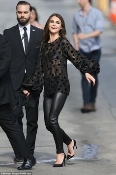 Having a good day: The actress, 41, was clearly in an upbeat mood as she headed to an appearance on Jimmy Kimmel Live after getting her Star on the Hollywood Walk Of Fame