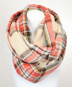 Cream & red tartan plaid infinity scarf