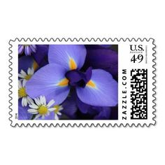 Floral, Purple Iris & Mini Daisy Postage Stamps