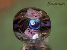 Halina  Lampwork flower bead  Roses от Sanstyle на Etsy
